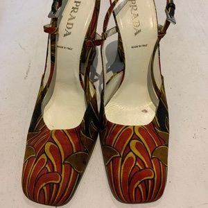 Prada Multicolored Fabric Slingback Heels